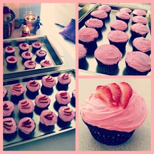 Dark chocolate strawberry cupcakes